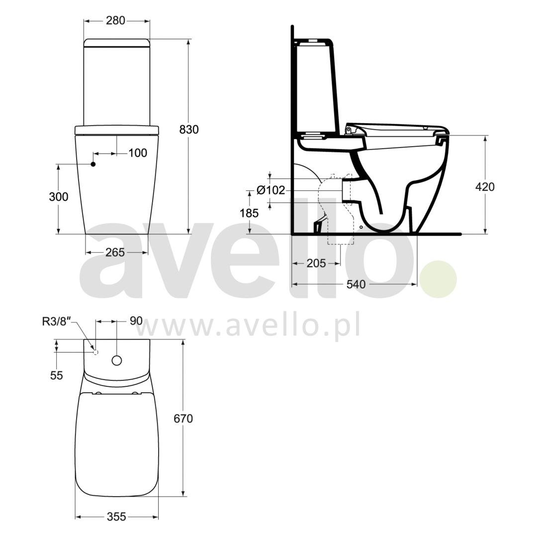 zestaw kompaktowy wc wyprofilowany w komplecie z desk sedesow ideal standard ventuno t321101. Black Bedroom Furniture Sets. Home Design Ideas