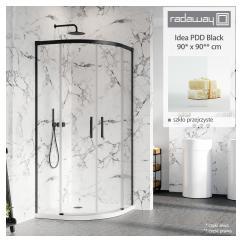 RADAWAY Idea Black PDD kabina prysznicowa półokrągła 90x90 cm